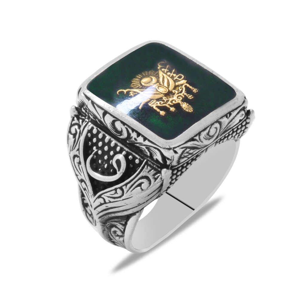 Osmanlı Arma Temalı Vav Detaylı Yeşil Mineli 925 Ayar Gümüş Erkek Yüzük