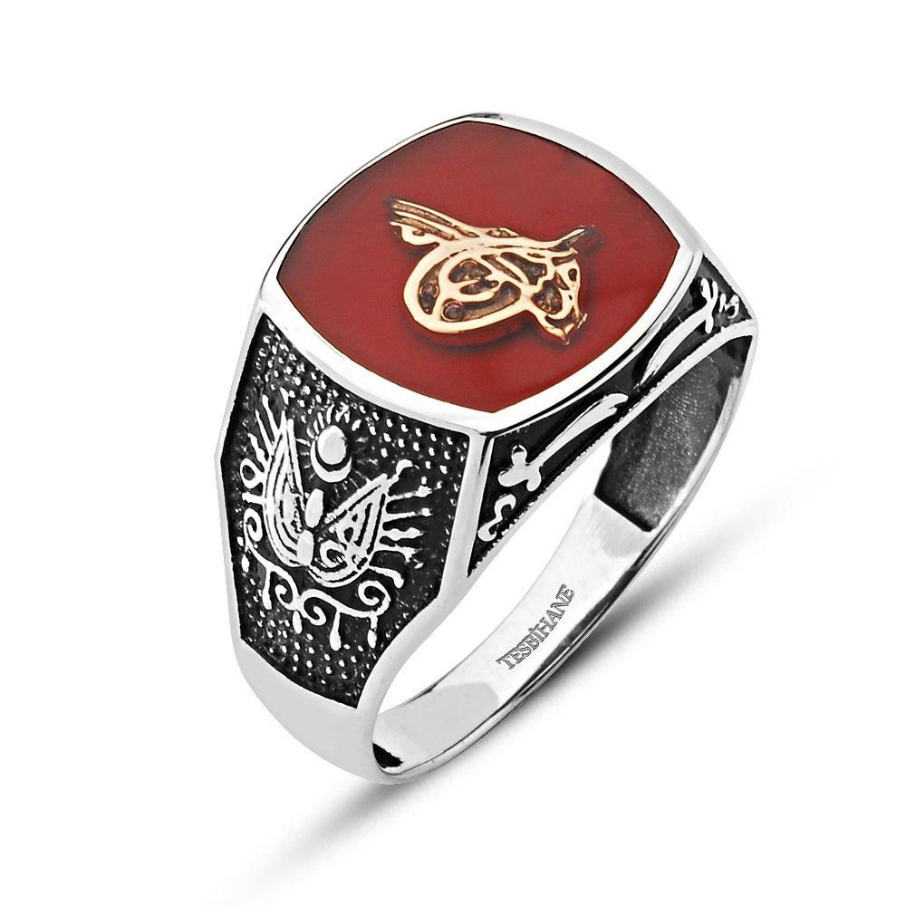 Osmanlı Devlet Armalı 925 Ayar Gümüş Zülfikar Yüzük