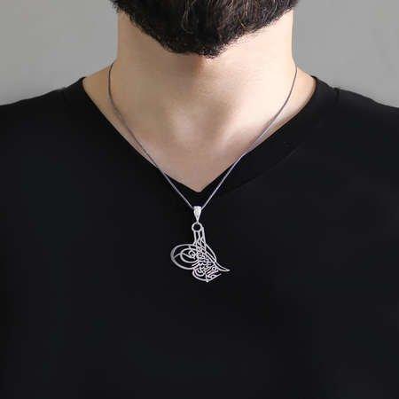 Osmanlı Tuğralı Lazer Kesim 925 Ayar Gümüş Kolye - Thumbnail