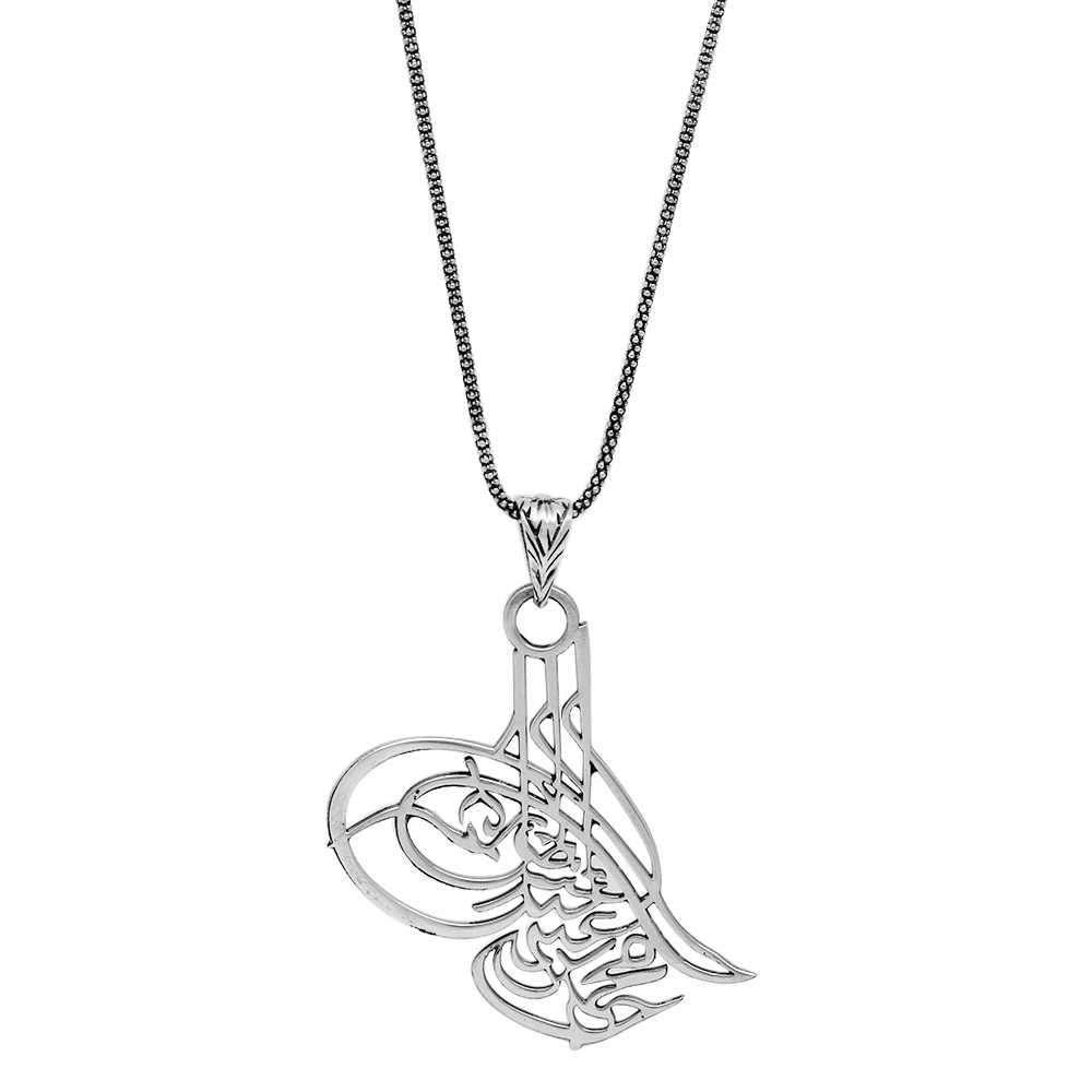 Osmanlı Tuğralı Lazer Kesim 925 Ayar Gümüş Kolye
