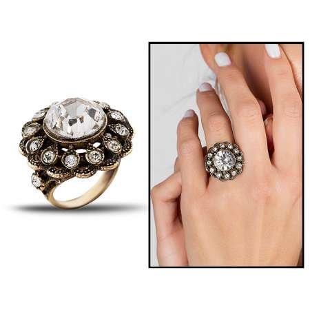 Otantik Beyaz Taşlı Çiçek Temalı Bronz Yüzük - Thumbnail