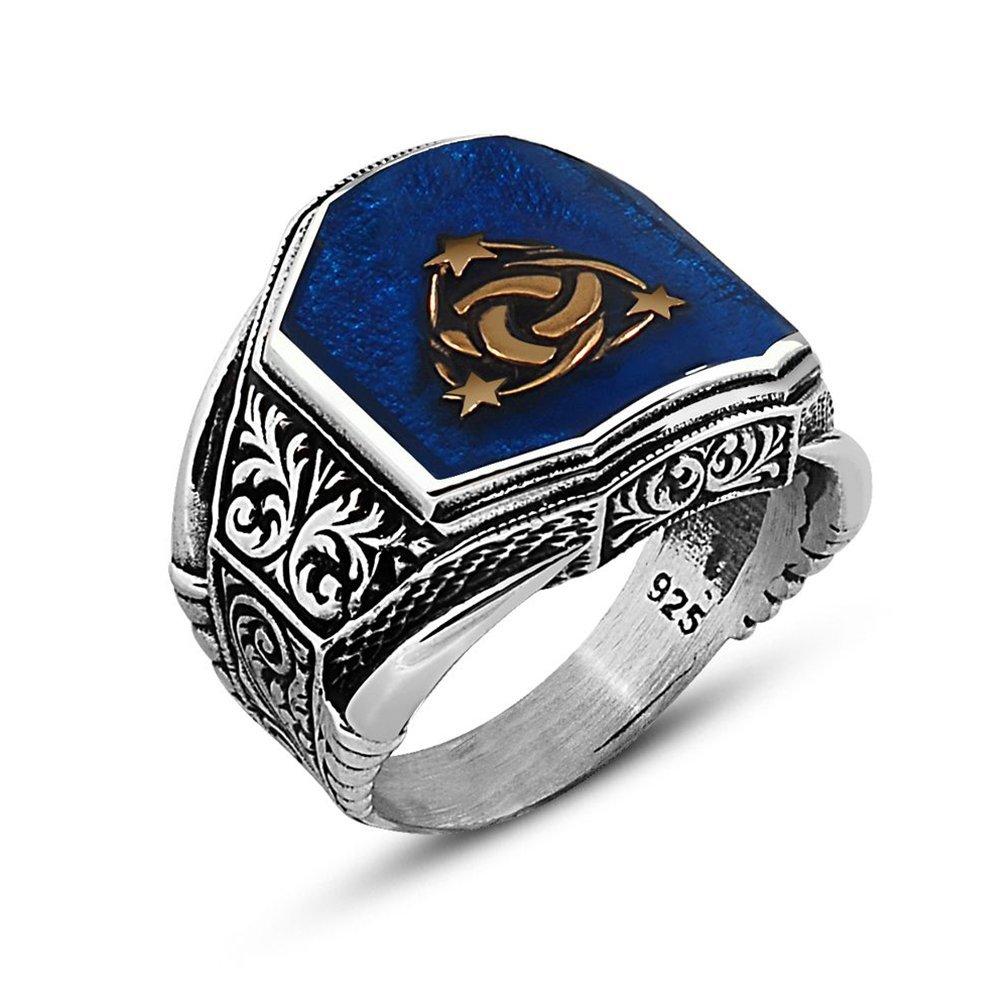 Köşeli Mavi Mineli 925 Ayar Gümüş Teşkılat-ı Mahsusa Yüzük
