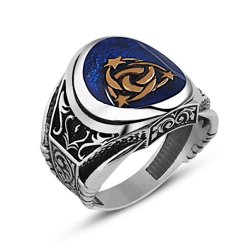 Oval Mavi Mineli 925 Ayar Gümüş Teşkılat-ı Mahsusa Yüzük