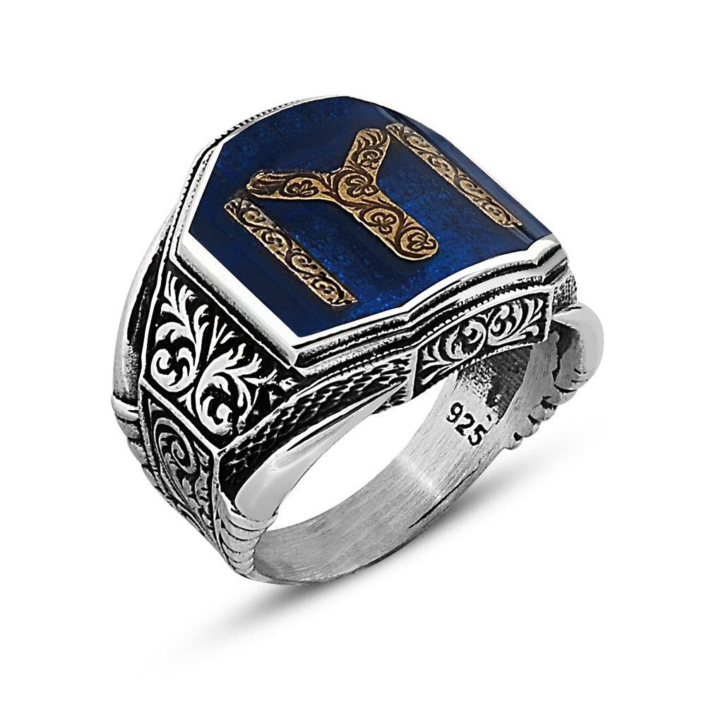 Otantik İşlemeli Kayı Tasarım Gümüş Yüzük