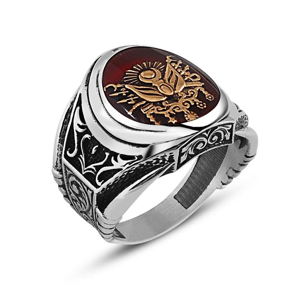 Otantik İşlemeli Kırmızı Mineli Osmanlı Arma Gümüş Yüzük