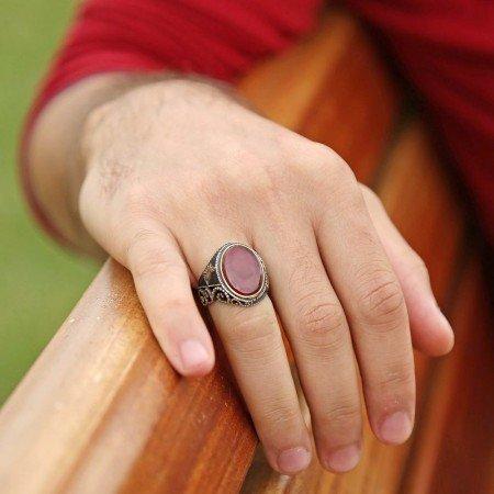Oval Akik Taşlı 925 Ayar Gümüş Tuğra Yüzük - Thumbnail