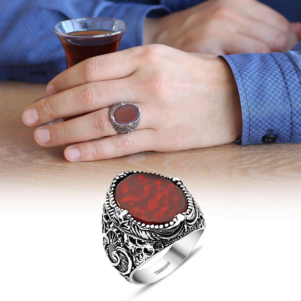 Vav İşlemeli Kırmızı Akik Taşlı 925 Ayar Gümüş Erkek Yüzük