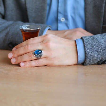 Oval Aqua Zirkon Taşlı Kompakt Tasarım 925 Ayar Gümüş Erkek Yüzük - Thumbnail