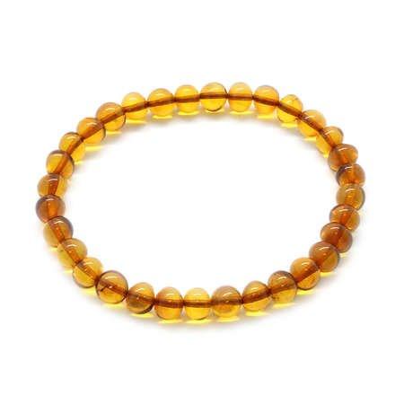 Oval Form Karamel Renk Doğal Damla Kehribar Bileklik - Thumbnail