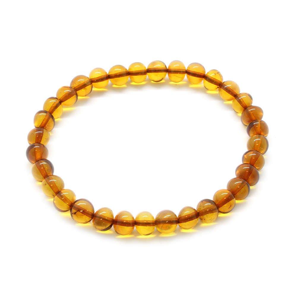 Oval Form Karamel Renk Doğal Damla Kehribar Bileklik