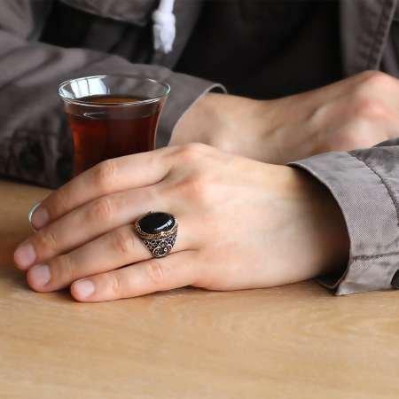 Vav İşlemeli Siyah Oniks Taşlı 925 Ayar Gümüş Erkek Yüzük - Thumbnail