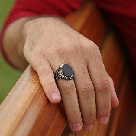 Oval Oniks Taşlı 925 Ayar Gümüş Yüzük - Thumbnail