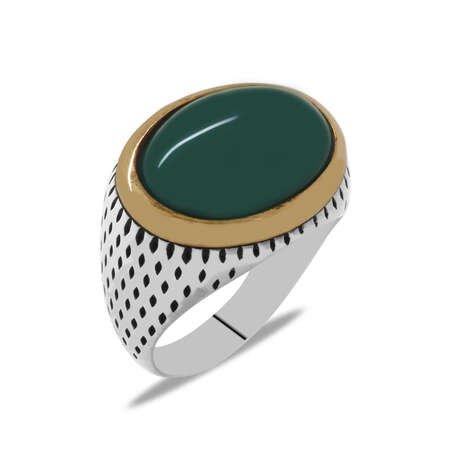 Oval Tasarım Bombeli Yeşil Akik Taşlı 925 Ayar Gümüş Erkek Yüzük - Thumbnail