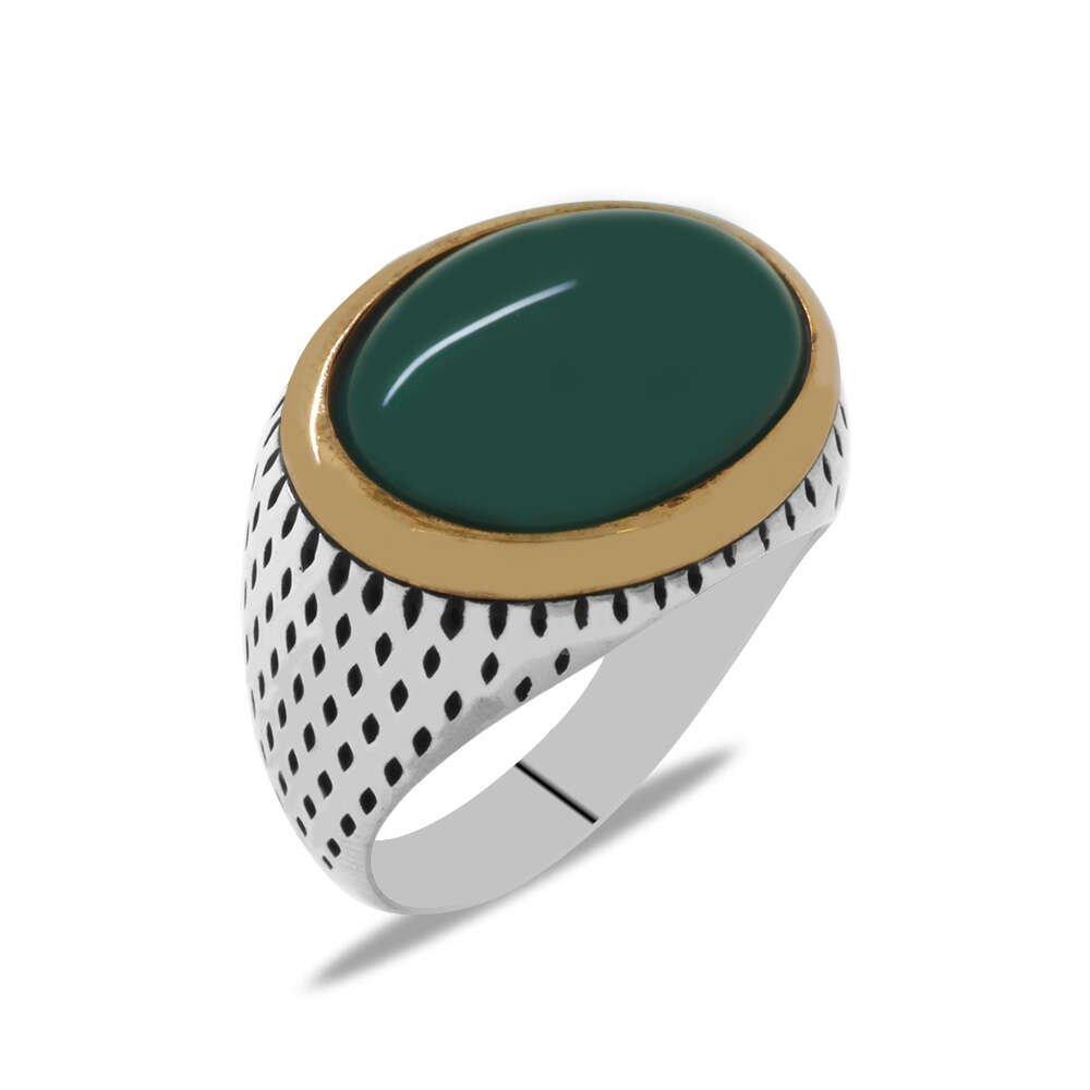 Oval Tasarım Bombeli Yeşil Akik Taşlı 925 Ayar Gümüş Erkek Yüzük