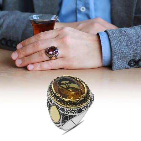 Oval Tasarım Faset Zultanit Taşlı Çevresi Mikro Taş Mıhlamalı 925 Ayar Gümüş Erkek Yüzük - Thumbnail