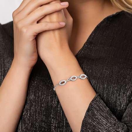 Oval Tasarım Haki Zirkon Taşlı 925 Ayar Gümüş Bileklik - Thumbnail