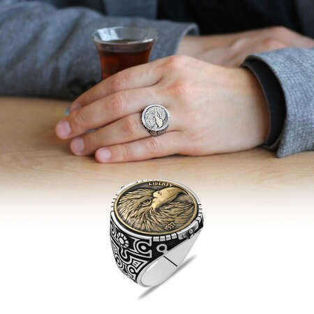 Oval Tasarım Özgürlük Kartalı Temalı 925 Ayar Gümüş Erkek Yüzük - Thumbnail