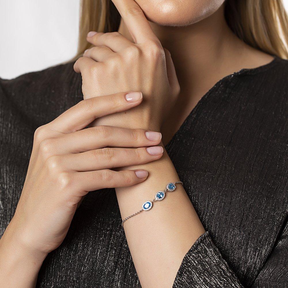 Oval Tasarım Mavi Zirkon Taşlı 925 Ayar Gümüş Bileklik