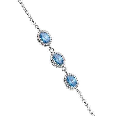 Oval Tasarım Mavi Zirkon Taşlı 925 Ayar Gümüş Bileklik - Thumbnail