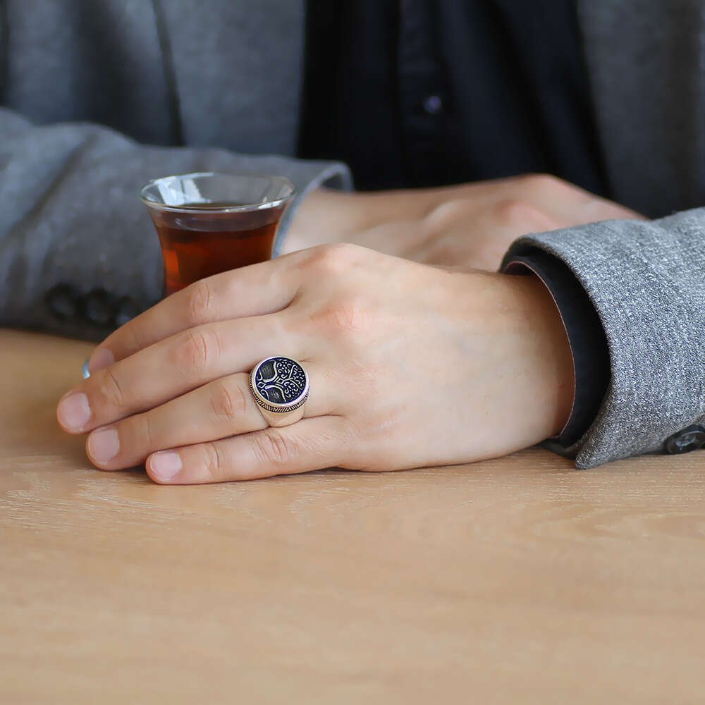 Oval Tasarım Soyağacı Temalı 925 Ayar Gümüş Erkek Yüzük
