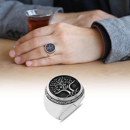 Oval Tasarım Soyağacı Temalı 925 Ayar Gümüş Erkek Yüzük - Thumbnail