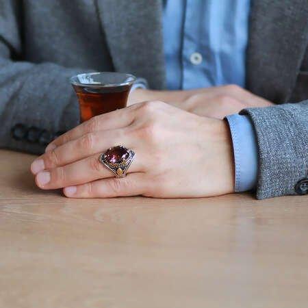 Oval Zultanit Taşlı Agresif Kasa Tasarımlı 925 Ayar Gümüş Erkek Yüzük - Thumbnail