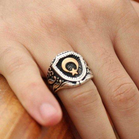 Özel Ayyıldız Tasarım 925 Ayar Gümüş Yüzük - Thumbnail