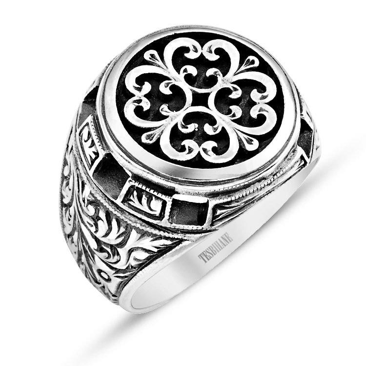 Özel Erzurum El İşçiliği Çiçek Motifli Gümüş Yüzük