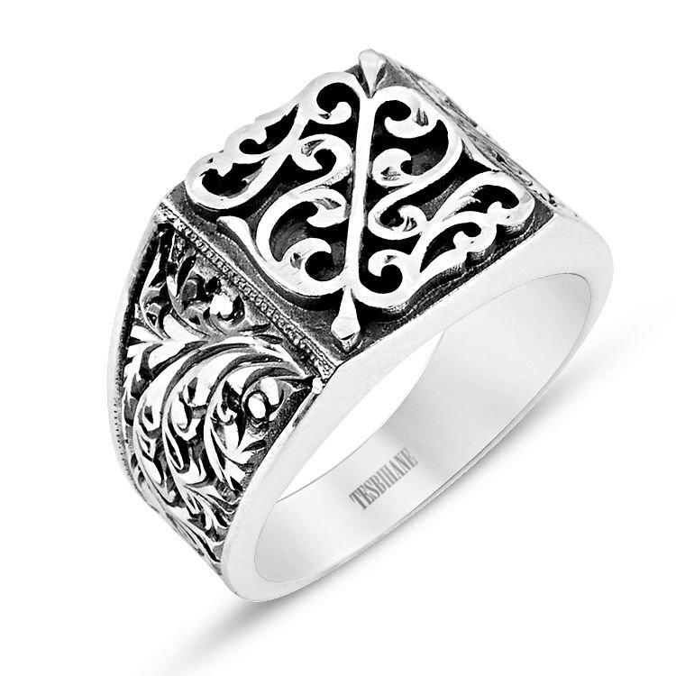 Özel Erzurum El İşçiliği Motifli Kare Gümüş Yüzük