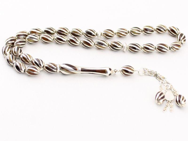 Özel Gümüş İşlemeli Bağa (Kaplumbağa Kabuğu) Tesbih