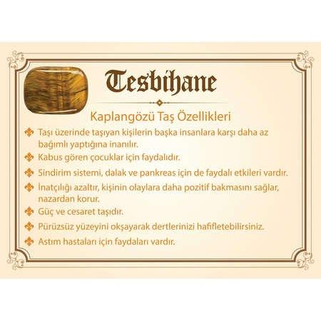 925 Ayar Gümüş Püsküllü Küre Kesim Kaplangözü Doğaltaş Tesbih - Thumbnail