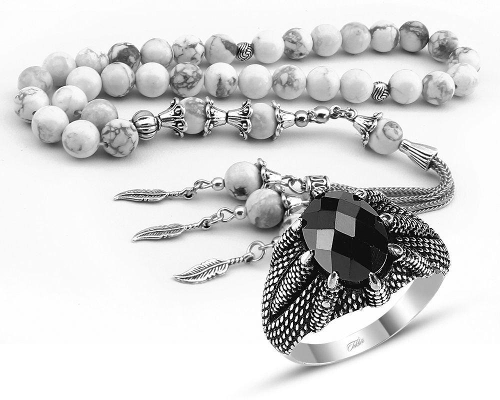 Özel Kamçılı Havlit Doğaltaş Tesbih ve Gümüş Kartal Pençesi Yüzük Kombini