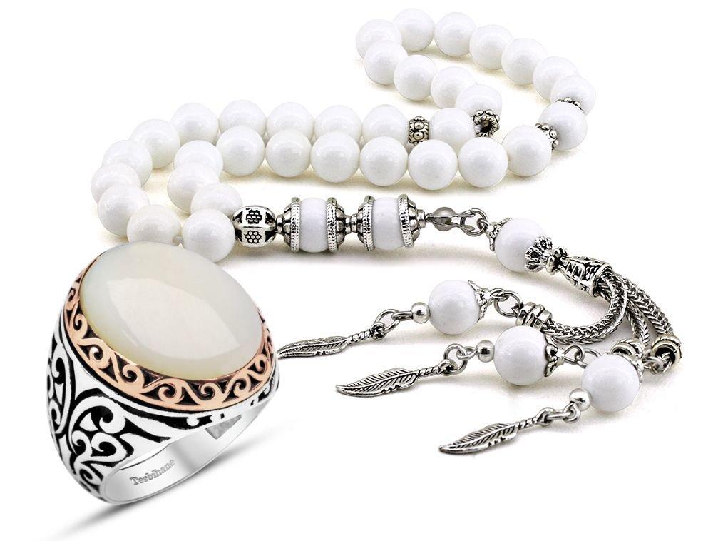 Özel Kamçılı Sedef Tesbih ve Sedef Taşlı Gümüş Yüzük Kombini