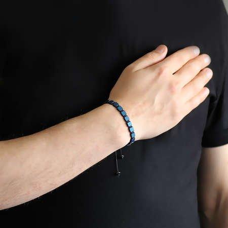 Özel Kesim Makrome Örgü Mavi Hematit Doğaltaş Bileklik - Thumbnail