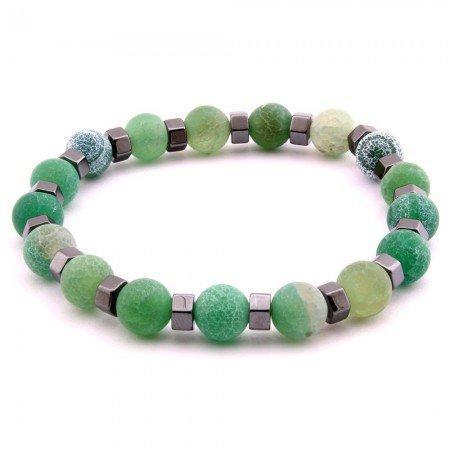 Küre Kesim Hareli Yeşil Akik-Hematit Doğaltaş Bayan Bileklik - Thumbnail