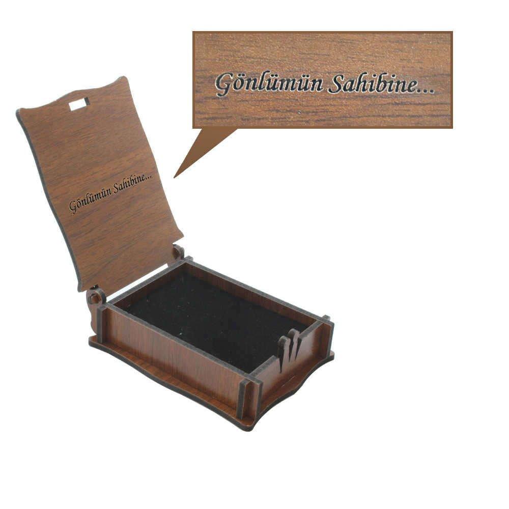Özel Mesaj Yazılı Kahverengi Ahşap Hediye Kolye-Küpe Kutusu (M-1)