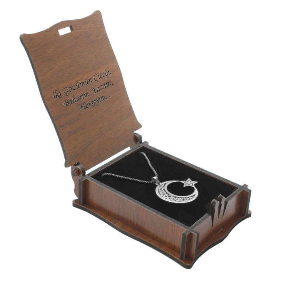 Özel Mesaj Yazılı Kahverengi Ahşap Hediye Kolye-Küpe Kutusu (M-2)