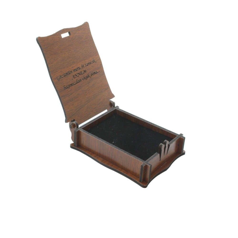 Özel Mesaj Yazılı Kahverengi Ahşap Hediye Kolye-Küpe Kutusu (M-3)