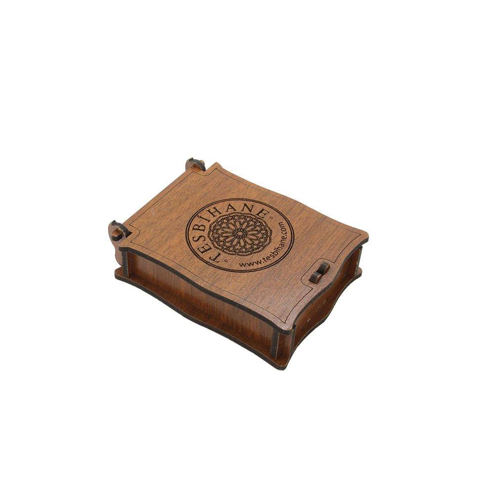 Özel Mesaj Yazılı Kahverengi Ahşap Hediye Kolye-Küpe Kutusu (M-4)