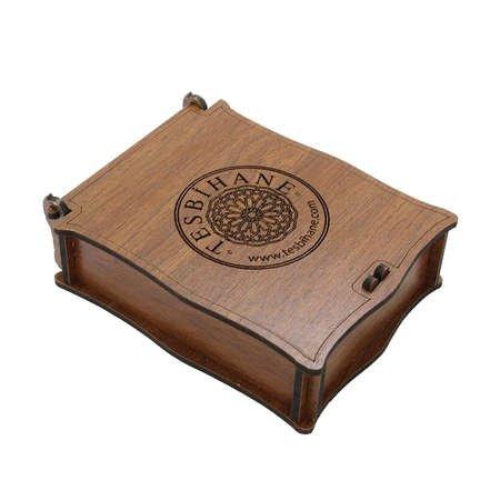 Özel Mesaj Yazılı Kahverengi Ahşap Hediye Takı Seti Kutusu (M-1) - Thumbnail