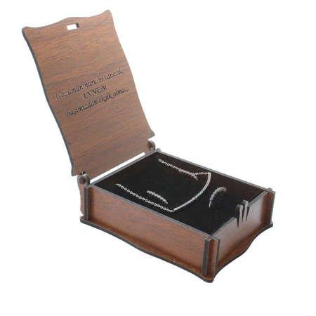 Özel Mesaj Yazılı Kahverengi Ahşap Hediye Takı Seti Kutusu (M-2) - Thumbnail