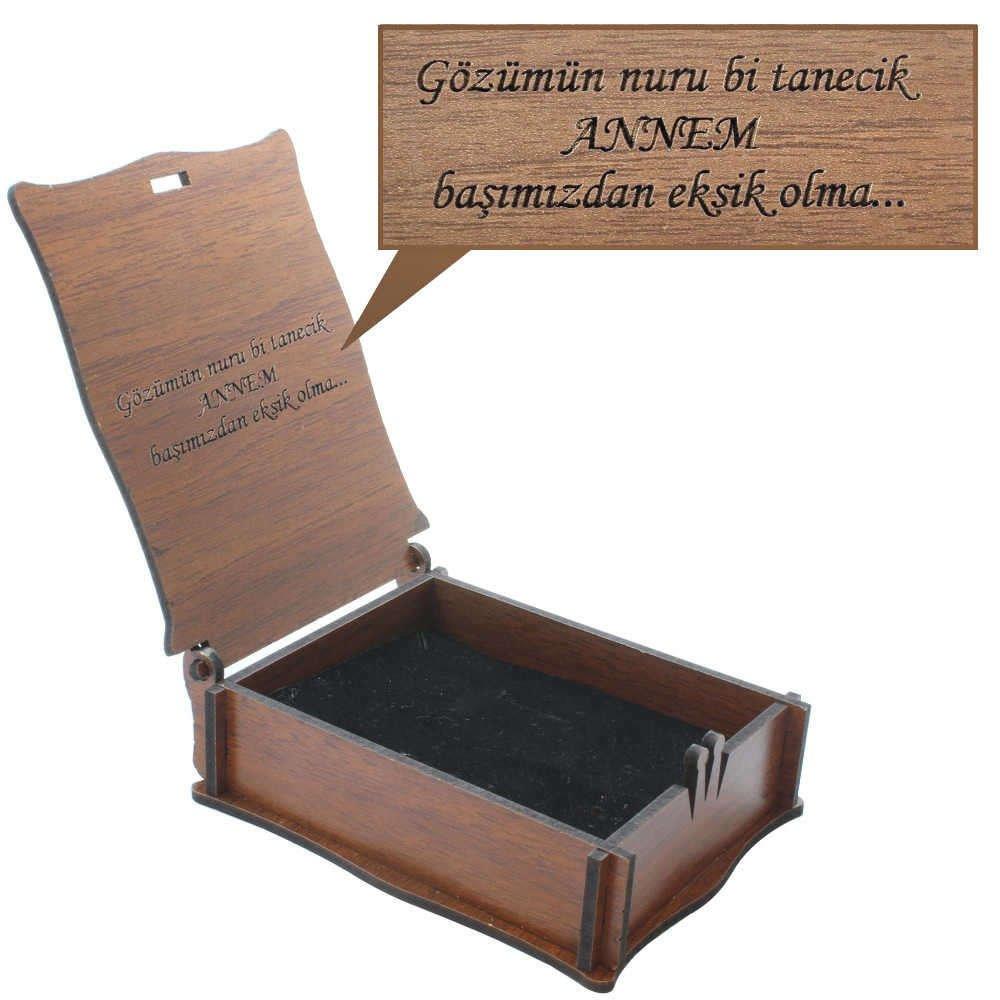 Özel Mesaj Yazılı Kahverengi Ahşap Hediye Takı Seti Kutusu (M-2)