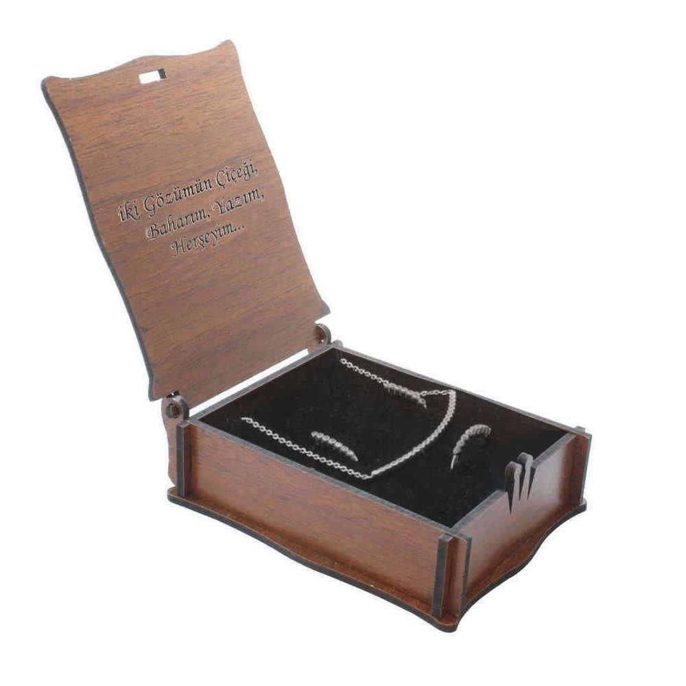 Özel Mesaj Yazılı Kahverengi Ahşap Hediye Takı Seti Kutusu (M-3)