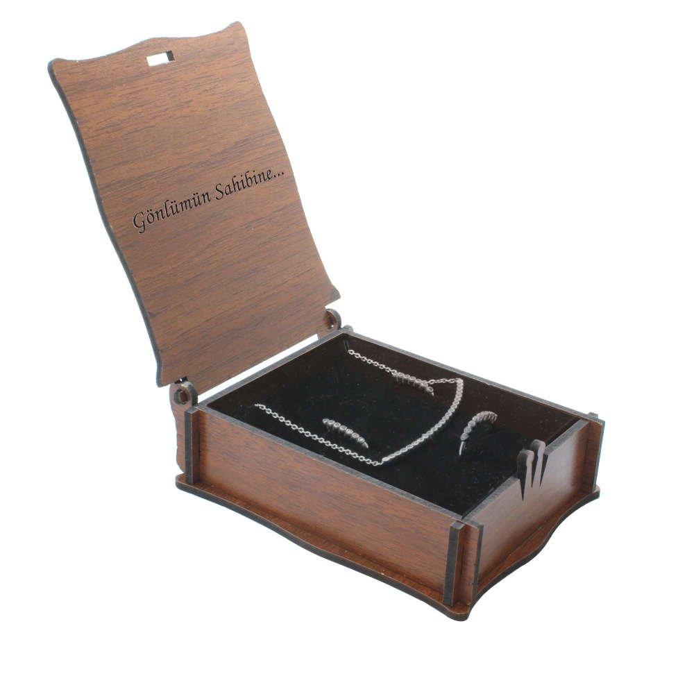 Özel Mesaj Yazılı Kahverengi Ahşap Hediye Takı Seti Kutusu (M-4)
