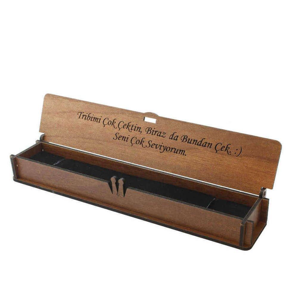 Özel Mesaj Yazılı Kahverengi Ahşap Hediye Tesbih Kutusu (M-1)