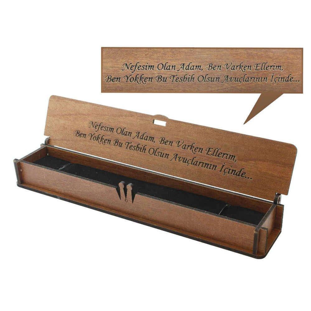 Özel Mesaj Yazılı Kahverengi Ahşap Hediye Tesbih Kutusu (M-3)