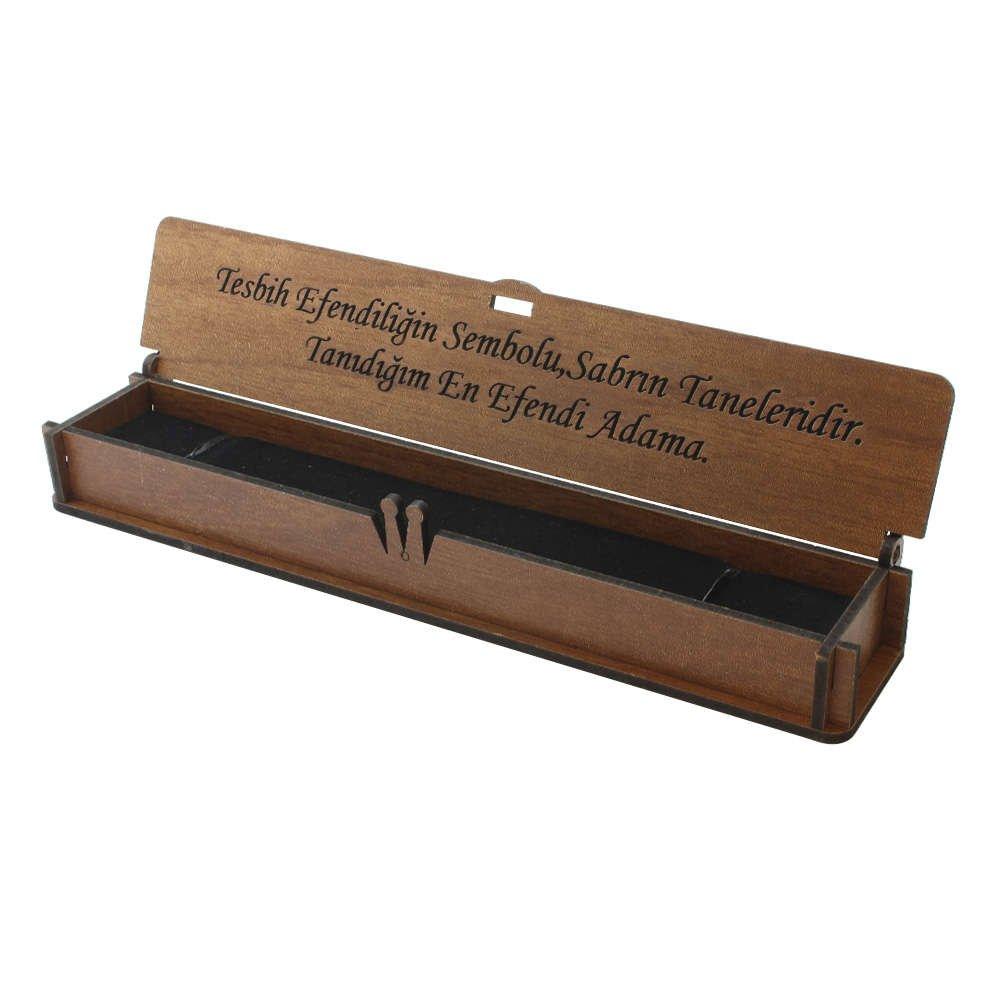 Özel Mesaj Yazılı Kahverengi Ahşap Hediye Tesbih Kutusu (M-5)