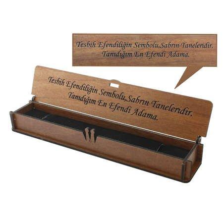 Özel Mesaj Yazılı Kahverengi Ahşap Hediye Tesbih Kutusu (M-5) - Thumbnail