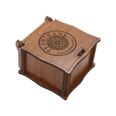 Özel Mesaj Yazılı Kahverengi Ahşap Hediye Yüzük-Alyans Kutusu (M-1) - Thumbnail