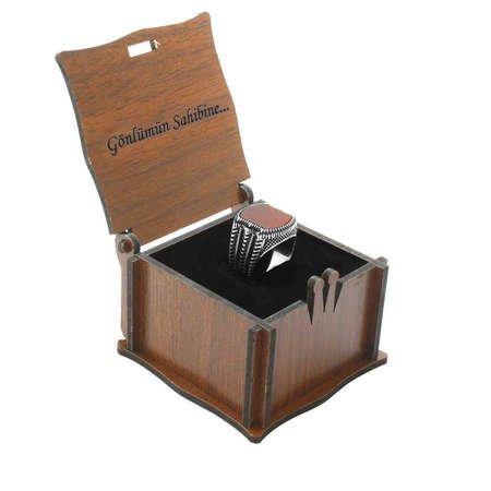Özel Mesaj Yazılı Kahverengi Ahşap Hediye Yüzük-Alyans Kutusu (M-2) - Thumbnail